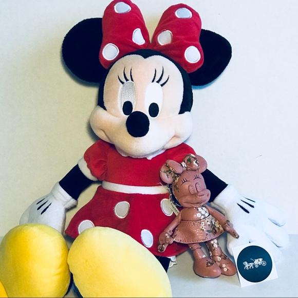 F30955 Coach Disney Minnie Mouse Navy Floral Doll Bag Charm Keychain